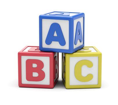 ABC Alphabet Blocks On White Background