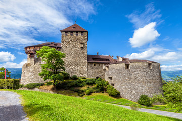 Fototapete - Vaduz castle in Liechtenstein. This Royal castle is a landmark of Liechtenstein and Switzerland. Scenic view of medieval castle in Alps mountains in summer. Concept of travel and vacation in Europe.