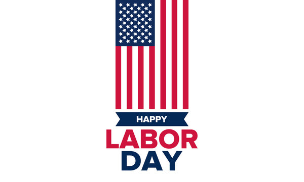 Happy Labor Day. Public federal holiday, celebrate annual in United States. American labor movement. Patriotic american elements. Poster, card, banner and background. Vector illustration