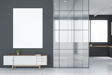 Poster and cabinet in gray living room and kitchen
