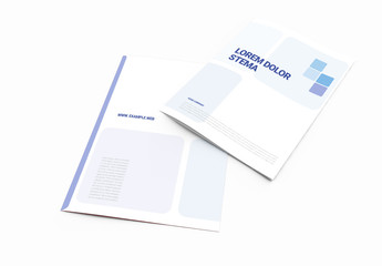 Bifold Brochure Layout with Blue Accents
