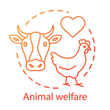 Animal welfare, shelter concept icon. Voluntary wildlife protection idea thin line illustration. Veterinary clinic, farming business. Heart symbol, chicken and cow vector isolated outline drawing