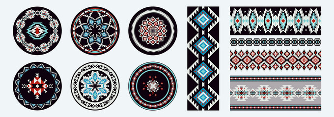 Set of Ethnic decorative elements. Round ornament patterns and borders. Tribal rugs with geometric design.