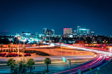 Photo sur Plexiglas Autoroute nuit Downtown Phoenix, Arizona at Night