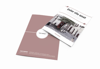 Bifold Brochure Layout with Cityscape Imagery