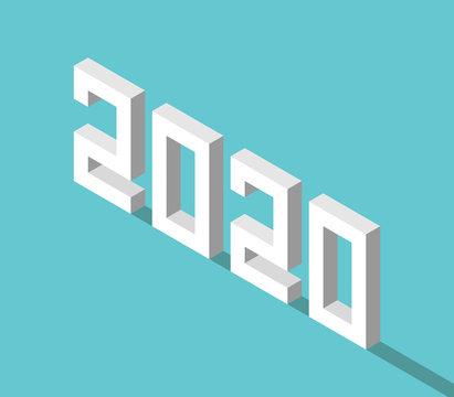 Isometric white 2020 year