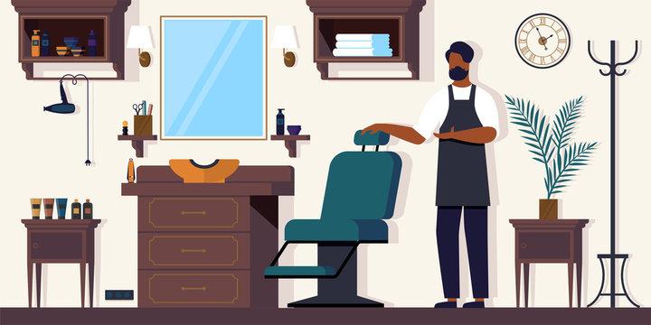 Barber Waiting Client in Barbershop, Salon for Men