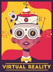 Virtual reality retro style poster template