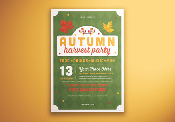 Autumn Harvest Party Graphic Flyer Layout
