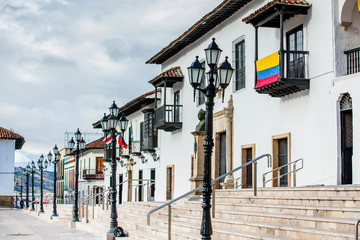 Beautiful streets and houses around Bolivar Square in Tunja city Fotomurales