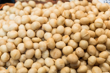 Close up of macadamia nuts at the farmers market stall