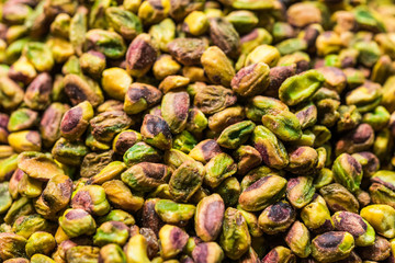 Close up of pistachio nuts at the farmers market stall