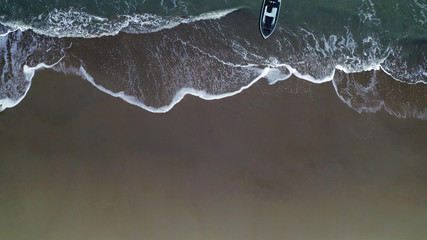 Aerial view of a boat in the sea. Beautiful natural landscape.