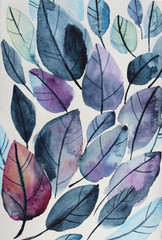Leaf watercolor dark blue hand-drawn