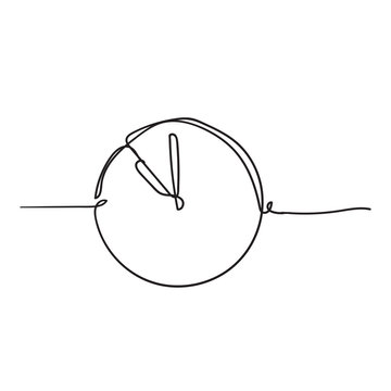 Continuous one line drawing Clock icon with doodle handdrawn style on white background