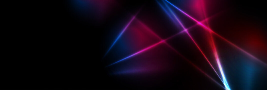 Abstract blue red purple tech glowing neon lines background. Laser show iridescent banner graphic design. Vector illustration