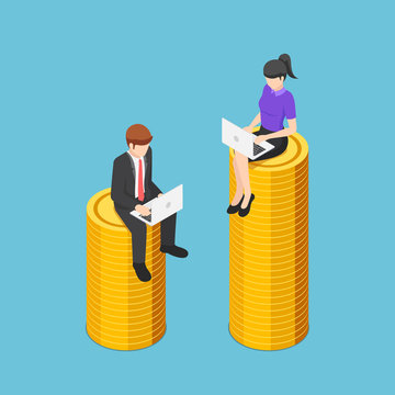 Isometric businessman and businesswoman working while sitting on different size of coins stack