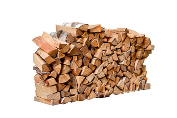 Tuinposter Brandhout textuur Stacked firewood isolated on white background.