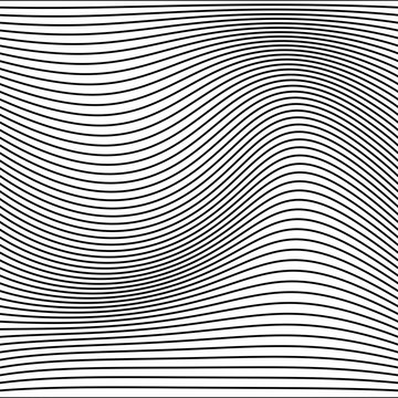 Abstract monochrome stripe wave lines pattern background.