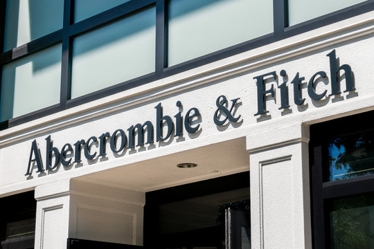 August 20, 2019 Palo Alto / CA / USA - Close up of Abercrombie & Fitch logo at their store located in Stanford Shopping Mall in San Francisco bay area