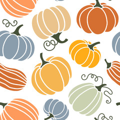 Seamless pattern of colorful pumpkins.