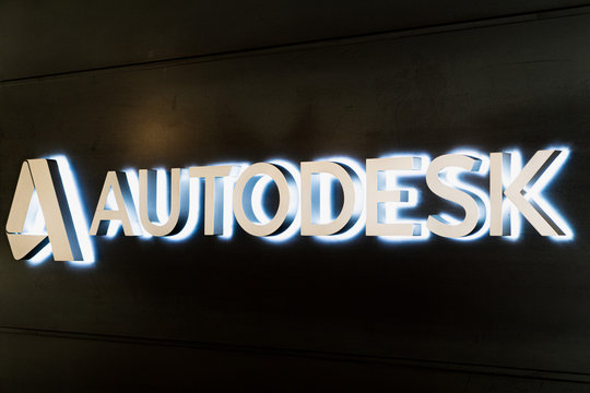August 21, 2019 San Francisco / CA / USA - Autodesk logo displayed at the Autodesk gallery; Autodesk, Inc. is an American multinational software corporation best known for AutoCAD