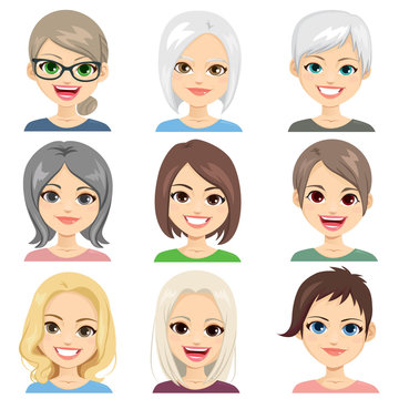 Middle aged and senior women avatar face set collection