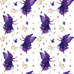 Seamless pattern with watercolor silhouettes of dancing fairies on a white background.