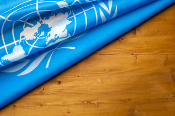 Close-up of the UN blue flag