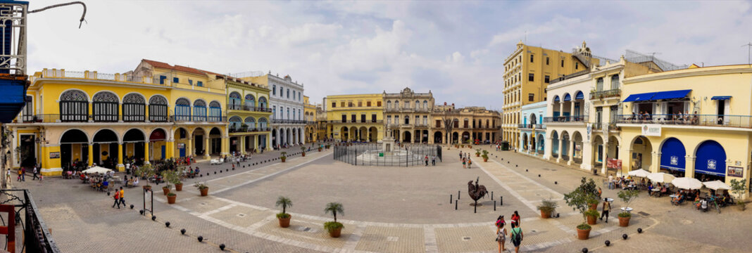 The old town of Havana with several iconic buildings in Cuba