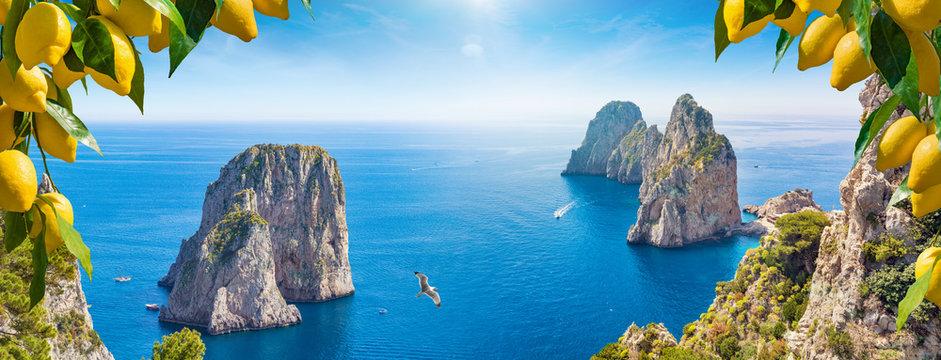 Panoramic collage with different view of Faraglioni Rocks near Capri Island, Italy