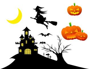ハロウィン・ほうきで空を飛ぶ魔女・城のシルエット・ジャックオーランタンイラスト素材