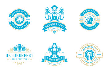 Oktoberfest badges and labels set vintage typographic design templates vector illustration.