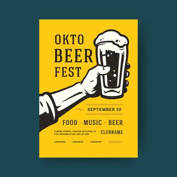 Oktoberfest party flyer vintage typography template design invitation beer festival celebration vector poster.