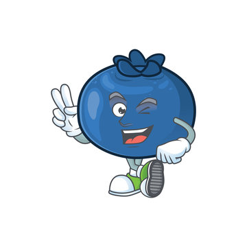 Two finger cartoon funny blueberry fruit with mascot
