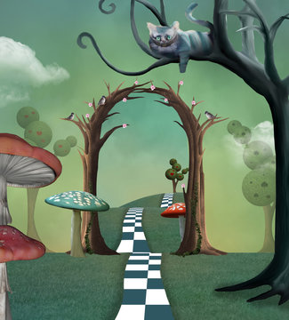 Wonderland series - Surreal countryside view with a secret  passage and cheshire cat