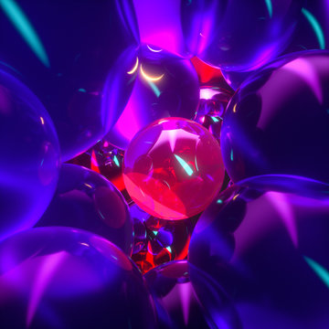 glowing purple balloons, fantasy and abstract background, 3d rendering.