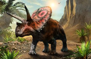 Wall Mural - Torosaurus from the Cretaceous era 3D illustration