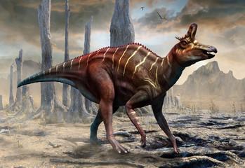 Wall Mural - Lambeosaurus from the Cretaceous era scene 3D illustration