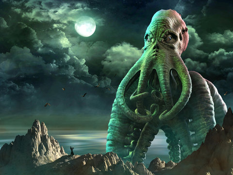 Tentacled horror scene 3D illustration