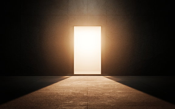 Light door in dark room. 3d render