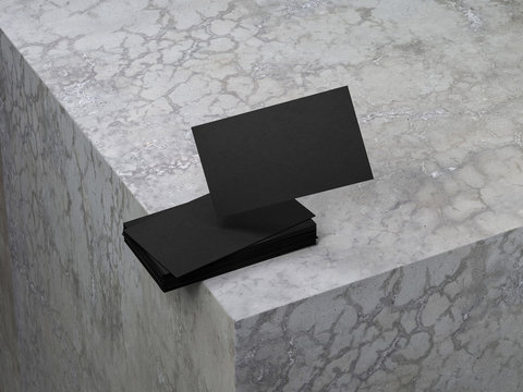 Black Business Cards Mockup on the concrete table