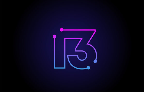 Number 13 logo icon design in pink blue colors