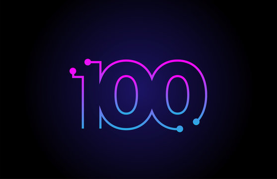 Number 100 logo icon design in pink blue colors