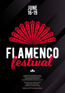 Vertical flamenco template with dark background, red fan and text.