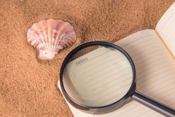 On a notebook lies a magnifier for study and a seashell on the sand.