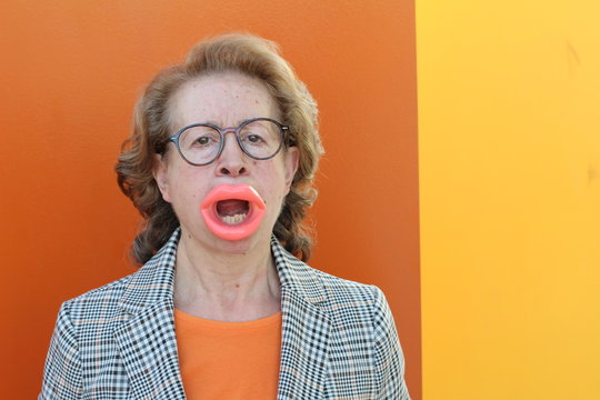 Woman with botox in her lips