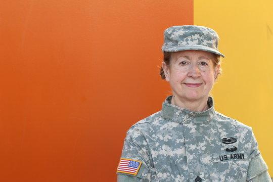 Mature female U.S. army veteran
