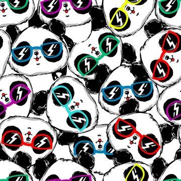 Hand drawn panda with glasses seamless pattern.