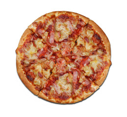 Top View,slice Hawaiian, fluffy pizza flat lay on white background , isolated with clipping path